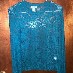 NWT- Scalloped Teal Top